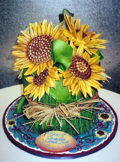 Sunflower Bouquet~All edible white chocolate sunflowers on cake decorated in buttercream