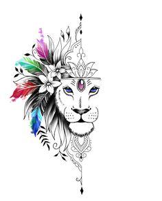 Art Drawings Sketches, Tattoo Drawings, Body Art Tattoos, Girl Tattoos, Tatoos, Female Lion Tattoo, Tribal Lion Tattoo, Lion Thigh Tattoo, Lion Tattoo Sleeves