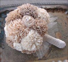 Custom Made Tea Stained Alternative Wedding Bouquet - Cotton Fabric Bridal Bouquet