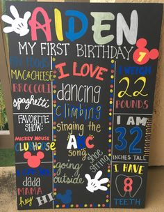 MICKEY MOUSE BIRTHDAY BOARD HANDWRITTEN FIRST BIRTHDAY