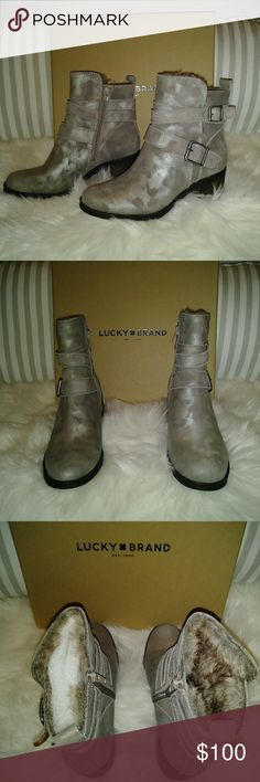 Lucky brand ankle boots Gray, slightly metallic outside. Cute fur inside. Lucky Brand Shoes Ankle Boots & Booties
