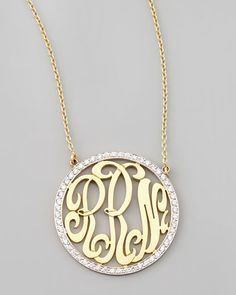 Cutout-Monogram Medium Pave White Diamond Necklace @Reis-Nichols Jewelers