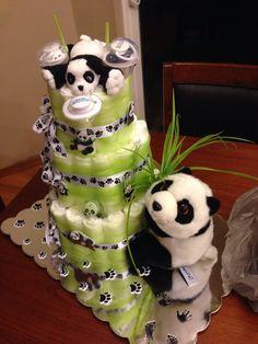 Panda diaper cake my BFF made me! Baby Shower Diapers, Baby Shower Fun, Baby Shower Gender Reveal, Baby Shower Cakes, Baby Shower Parties, Baby Shower Themes, Baby Shower Decorations, Baby Shower Gifts, Panda Decorations
