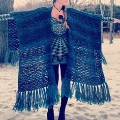 Crocheted Fringed Shawl,Fringed Poncho,Kimono,Warm Fringed Wrap,Winter Shawl,Bulky Shawl,Womens Accessories,Fringed Wrap,Blanket Scarf - pinned by pin4etsy.com