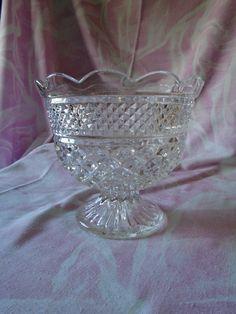 Vintage Clear Pressed Glass Wexford Pattern Compote Pedestal Bowl, Anchor Hocking, Vintage Scalloped Serving Bowl, Centerpiece