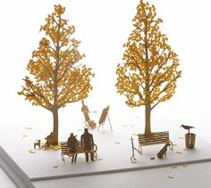 1/100 PAPER MODEL SET NO.24 STREET TREE GINKGO