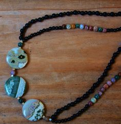 Check out Splendid Ocean Jasper Necklace with Focal Coins , Rounds , Matte Onyx  and Black Agate on willeydesigns