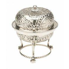 """Skål, """"antik sølv"""", m. låg, paisleymønster."""