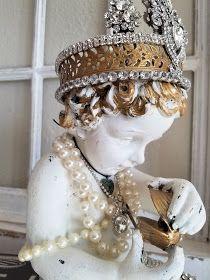 Ms Bingles Vintage Christmas: Lots of Rhinestone Mermaid Statues . Angel Wings Wall Decor, Angel Decor, Wedding Rings Vintage, Antique Engagement Rings, Jewelry Tree, Sea Glass Jewelry, Jewelry Rings, Rhinestone Jewelry, Vintage Rhinestone