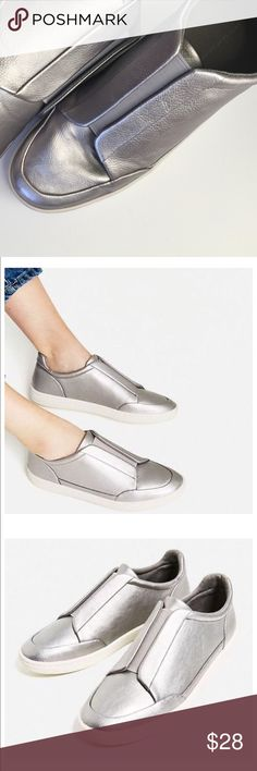 SHOES▪️SILVER Laminated stretch sneakers Zara ▪️silver stretched laminated sneaker size 38 have been worn only 2x! The sneakers are very comfortable and easy to wear. Zara Shoes Sneakers