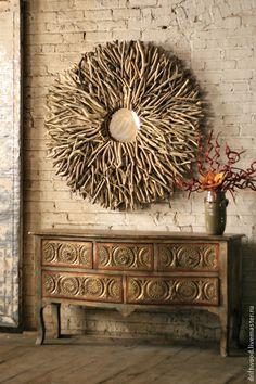 Купить Декоративное зеркало Солнце - бежевый, зеркало, зеркало настенное, панно, Декор, ветки