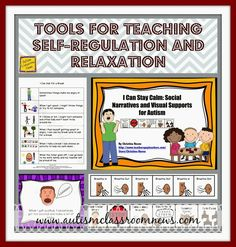 Visuals and social stories for students with special needs and autism to learn to manage their own behavior and stay calm. Tools for Teaching Self-Regulation and Relaxation by Autism Classroom News Teaching Social Skills, Tools For Teaching, Social Emotional Learning, Social Activities, Teaching Strategies, Classroom Behavior, Autism Classroom, Classroom Resources, Autism Resources
