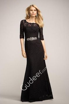 black long slim a-line boat neck bridesmaid dress with 3/4 length sleeves