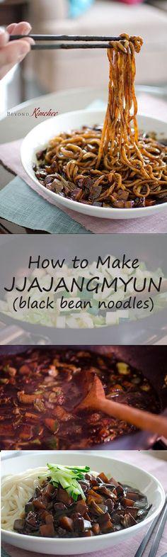 Learn to make jjajangmyung, the Korean version of noodles in black bean sauce