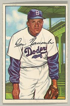Don Newcombe, Pitcher, Brooklyn Dodgers, from the series Picture Cards (no. 128) - Color Lithograph, 1952 (8 x 5,3cm)