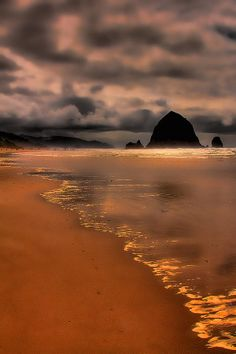 ✮ Golden Sunset - Haystack Rock on Cannon Beach, Oregon - photo by David Patterson