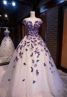 P3563 Details about Purple Butterfly Appliques Ball Quinceanera Cute Prom Dresses, Cheap Evening Dresses, Tulle Prom Dress, Cheap Dresses, Pretty Dresses, Beautiful Dresses, Dress Wedding, Butterfly Wedding Dress, Prom Dress Long