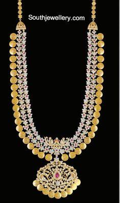 diamond & yellow gold kasulaperu haram