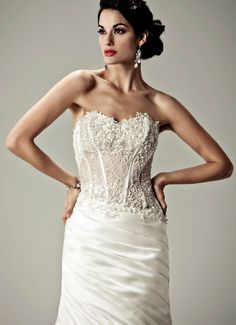 ALABASTER - Wedding Gown / Matty 2012 Collection - by Matthew Christopher -  Available colours : White & Off White (close up)