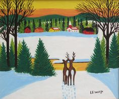 'Sunset with Deer' by Maud Lewis at Mayberry Fine Art
