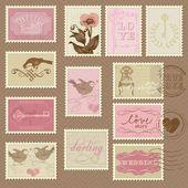 Selos retrô - para projeto de casamento, convite — Vetor de Stock