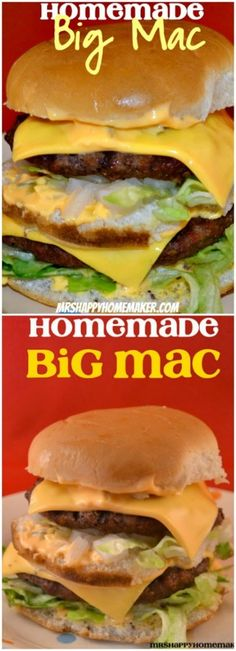 Two all beef patties, special sauce, lettuce, cheese, pickles, onions on a sesame seed bun – the HOMEMADE Big Mac recipe is here! - MrsHappyHomemaker.com