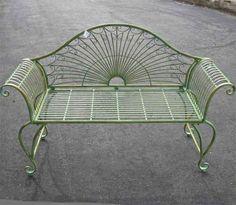 "Garden-Bench 37"" High  - Wrought Iron - Antique Green Finish C  786295183986 | eBay"