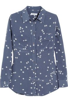 Equipment Slim Signature printed washed-silk shirt | NET-A-PORTER