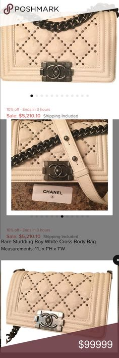 CHANEL BOY BAG Authentic Chanel boy bag SALE!!! Cream color with stud details. Small size. Ruthenium hardware. Comes with tags dust bag chanel box & authenticity card! Preloved used carried but no damage no rips, tears or holes. Good used condition. CHANEL Bags Crossbody Bags