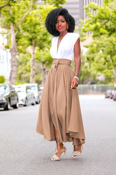Style Pantry | Draped Bodysuit + High Waist Belted Midi Skirt
