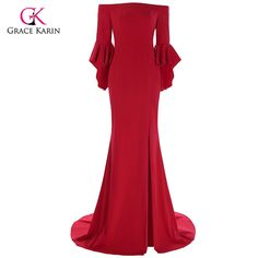 Grace Karin Red Evening Dress 2017 Boat Neck High Slit Ruffle Sleeves Floor Length Formal Evening Gowns Special Occasion Dresses #Affiliate