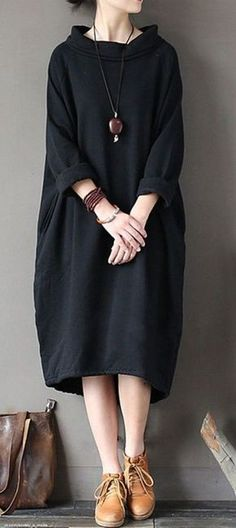 Buy cotton clothes For Women Omychic patchwork Neckline black high neck cotton D. - Buy cotton clothes For Women Omychic patchwork Neckline black high neck cotton Dresses - Linen Dresses, Cotton Dresses, Casual Dresses, Casual Outfits, Loose Dresses, Fall Outfits, Casual Shoes, Hijab Fashion, Boho Fashion