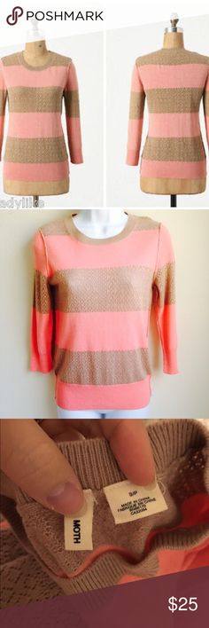 Anthropologie pink and beige striped sweater Lightweight sweater from moth via anthropologie. Alternating textures in the beige and pink areas. Crewneck with 3/4 sleeves. Pretty and unique sweater! Fitted sweater, runs true to size. Cotton, viscose and rabbit hair blend. Anthropologie Sweaters Crew & Scoop Necks