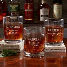 LOVE these personalized groomsmen whiskey glasses! You can personalize the whiskey glasses with any 3 lines of text in your choice of 9 font styles! It would be cute to crate one for each of the groomsmen and present it with a mini bottle of their favorite booze!