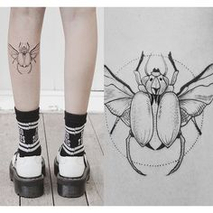 Cool bug tattoo I did for Hannah on flash day. Her first tattoo, design by Phoebe