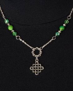 Celtic Pendant, Green Czech Glass Beads, Green Beads, Silver Beads, Chain by SuzetteGaleJewelry on Etsy