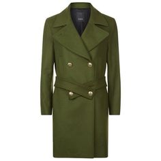 Pinko Belted Military Jacket (€500) ❤ liked on Polyvore featuring outerwear, jackets, green military style jacket, military army jacket, lapel jacket, green military jacket and belted jacket