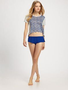 Phillip Lim Cropped Tee With Leopard Front | Adult Womens Buff Clothes, Top, Shirt & Clothing