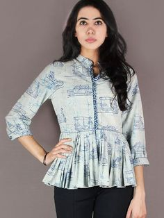 Light Blue Indigo Hand Block Printed Cotton Pleated Top - T11640021