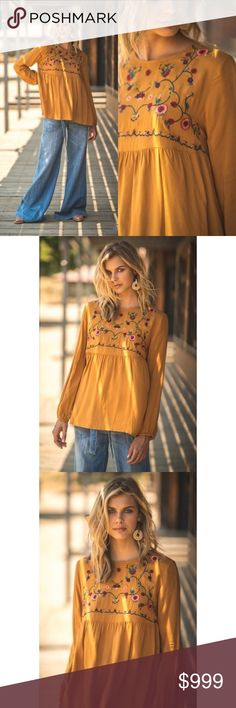 Embroidered Top Blouse Fall New Toffee Keyhole Embroidered Top Blouse Fall New Toffee Keyhole Back Long Sleeve  Features:  rayon lightweight non sheer true to size model is 5'8 and wearing the small mannequin is a size Small and is wearing the small hand wash or dry clean for best care  Measurements, laying flat (inches):  Bust:  18 Small, 19 Med, 20 Large Length: 24, 24.5, 25.526, 26, 27 Sofi + Sebastien Tops