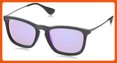 Ray-Ban CHRIS - FLOCK GREY Frame GREY MIRROR VIOLET Lenses 54mm Non-Polarized - Sunglasses (*Amazon Partner-Link)