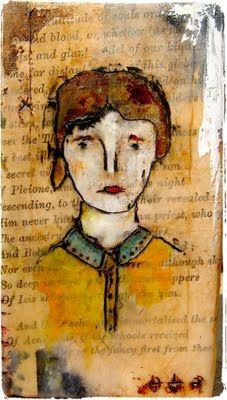 'eleanor' ~ watercolors, colored pencil, goauche, casein paint, oil pastel & beeswax on tea bag