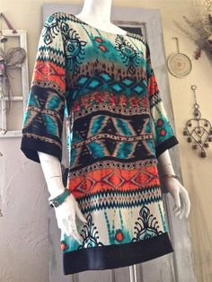 Gorgeous Teal Orange BoHo Hippie Bohemian Tunic Shift Dress Career Top S, M, L #MyBeloved #Shift #Casual