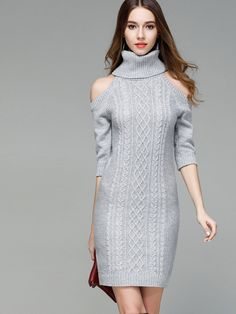 Women Stitching Slim Knit High Collar Long Sleeves Dress Sweater - OneBling
