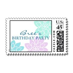 Cute customizable Birthday Party Postage Stamps.