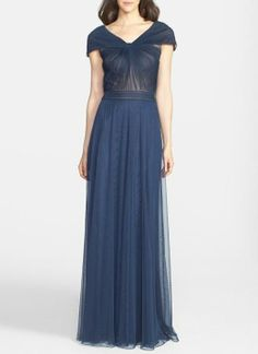 Stunning mesh and pleated gown for the mother of the bride.