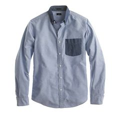 Slim vintage oxford shirt with contrast trim - J Crew