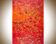 Christmas Sale Painting 54 large art Love Birds on by QiQiGallery