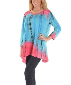 Another great find on #zulily! Pink & Blue Tie-Dye Sidetail Tunic - Plus #zulilyfinds