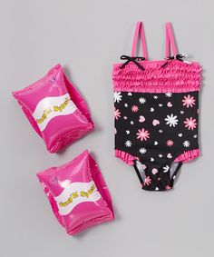 Look at this #zulilyfind! Black & Pink Ruffled One-Piece & Water Wings Set - Kids by Jump'N Splash #zulilyfinds